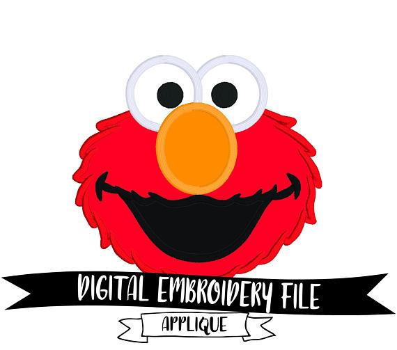 570x503 Elmo Face Embroidery Design File 5x7 Sesame Street
