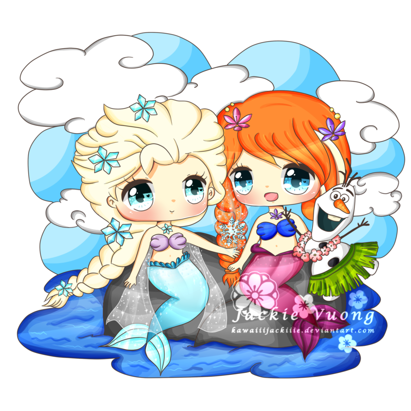 800x800 Elsa And Anna Mermaids By Kawaiiijackiiie