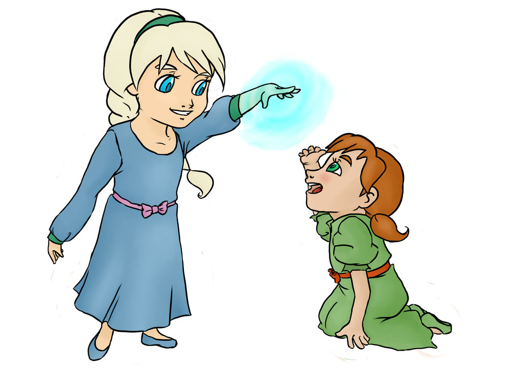 1024x724 Little Elsa And Anna By Intheaier