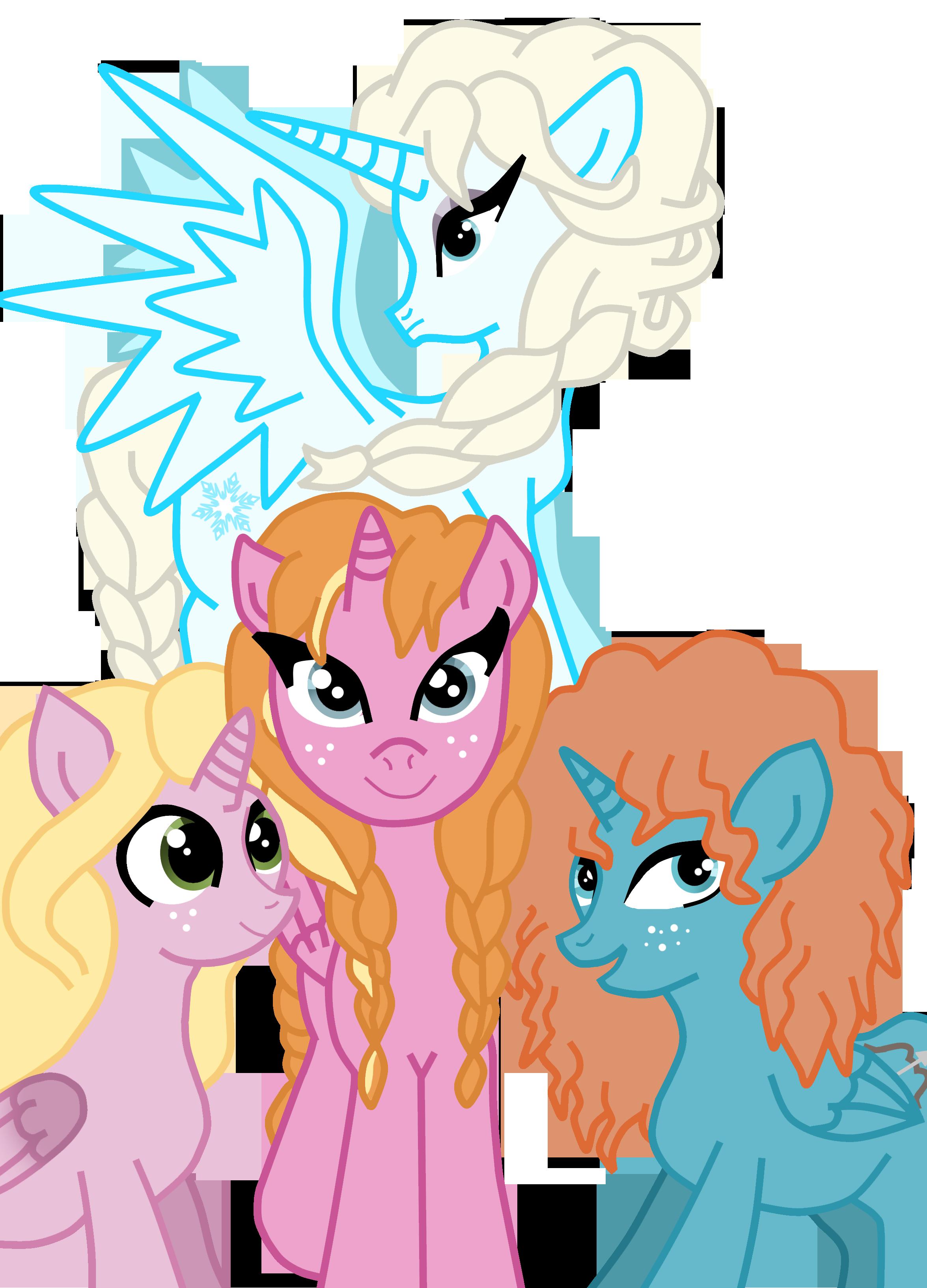 2351x3265 Rapunzel Merida Elsa Anna Ponies By Dramakid99