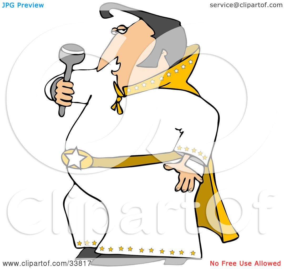 1080x1024 Clipart Illustration Of An Elvis Impersonator In A White Costume