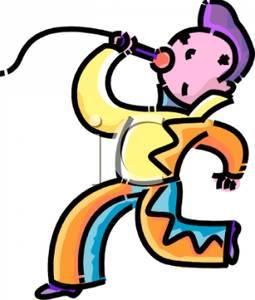 255x300 Cartoon Of A Boy Dressed As Elvis Presley Singing Karaoke