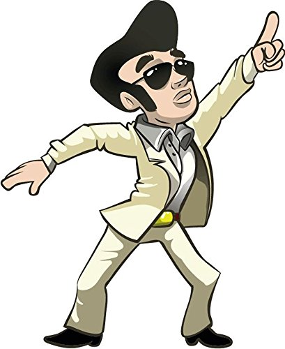 409x500 Cartoon Funny Elvis Presley Dancing Sticker Decal Design 4'' X 5