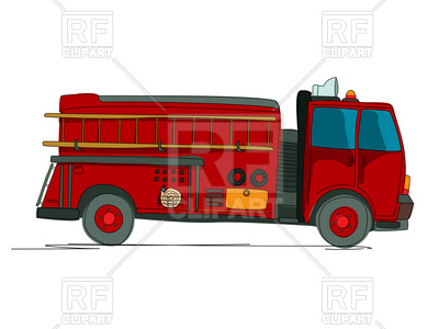 400x300 Side View Of Fire Truck (Fire Fighting Vehicle) Cartoon Sketch