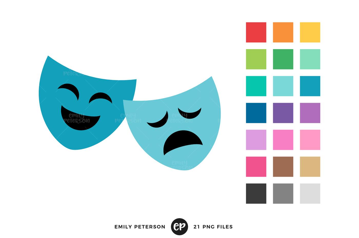1400x931 Theatre Masks Clipart By Emily Peterson Studio