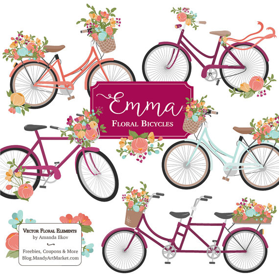 570x570 Emma Floral Bicycle Clipart Amp Vectors In Bohemian