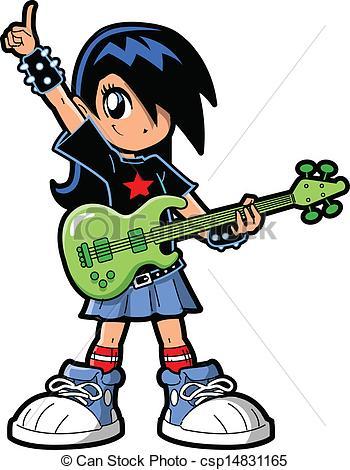 350x470 Anime Manga Girl Rock Star. Anime Manga Girl Goth Emo Rock Clip