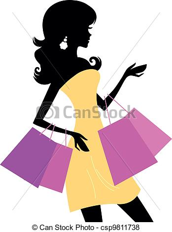 349x470 Shopping Retro Girl Isolated On White. Retro Woman Vector
