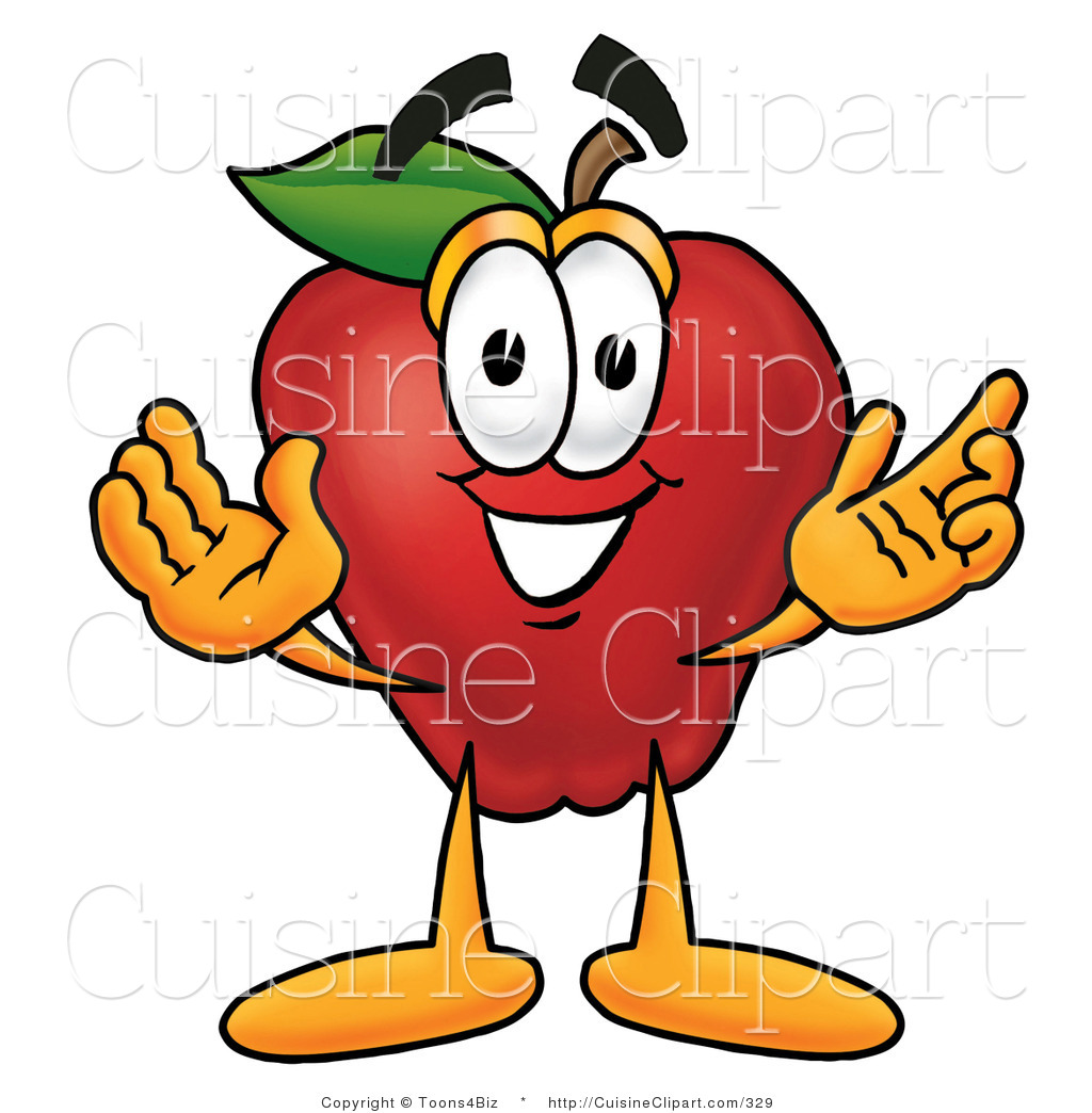 1024x1044 Cuisine Clipart Of A Smiling Red Apple Character Mascot With Open