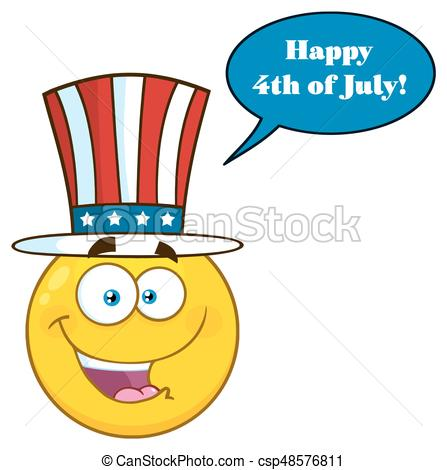 447x470 Happy Patriotic Yellow Cartoon Emoji Face Character Wearing