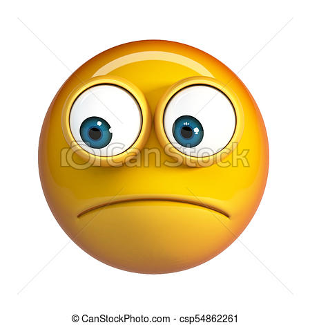 449x470 Worried Emoji Isolated On White Background. Concerned Stock