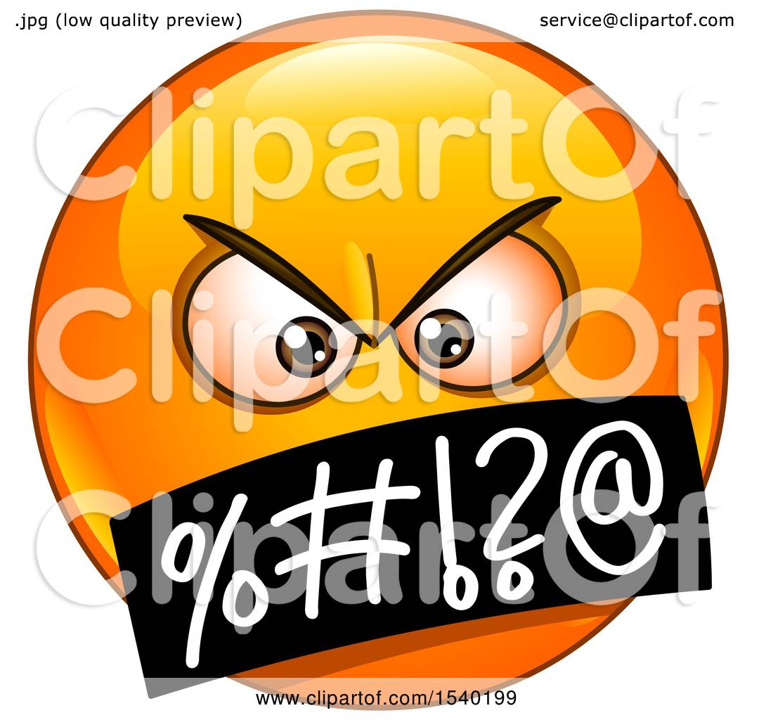 1080x1024 Clipart Of A Cursing Emoji Emoticon Face With Symbols Over