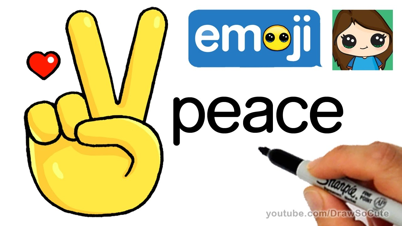 1280x720 How To Draw Peace Sign Hand Emoji