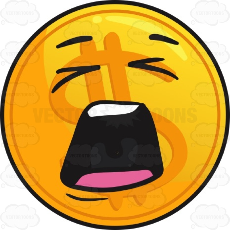 800x800 Distraught Golden Coin Emoji Cartoon Clipart Vector Toons