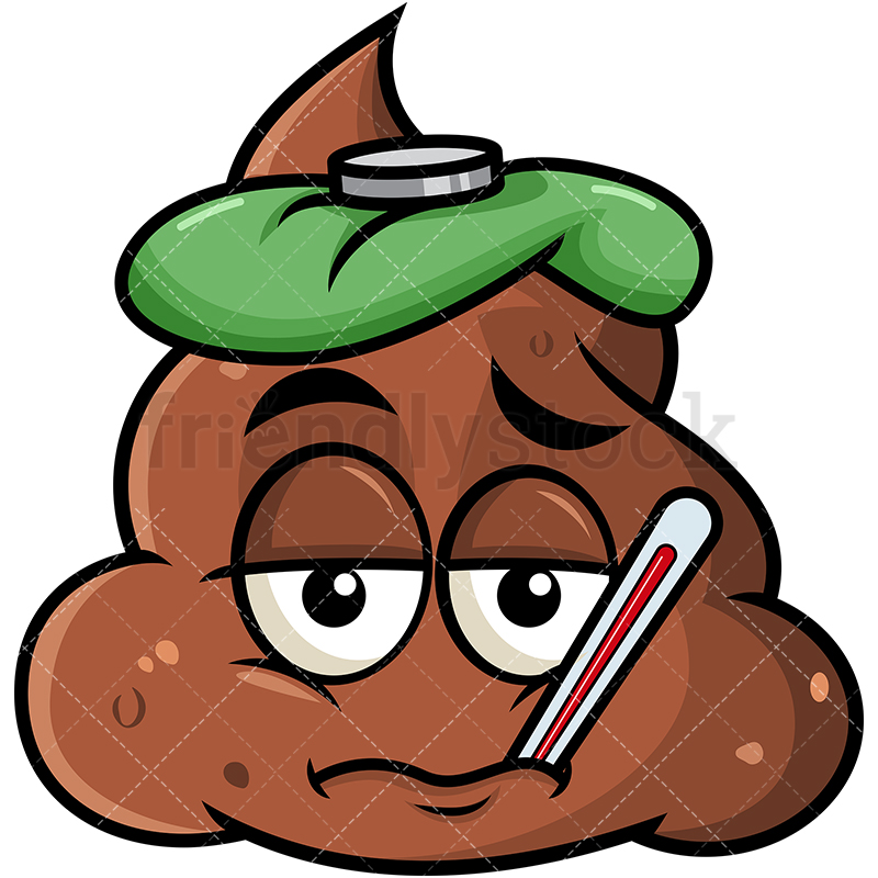 800x800 Feverish Sick Poop Emoji Cartoon Vector Clipart