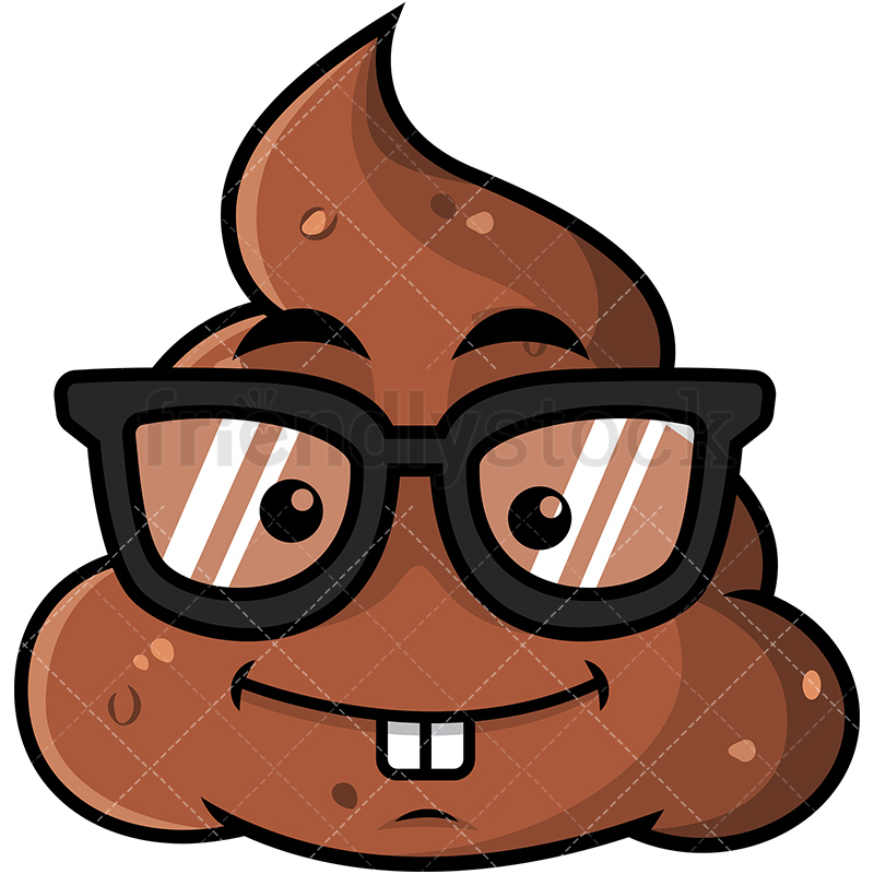 800x800 Geeky Poop Emoji Cartoon Vector Clipart
