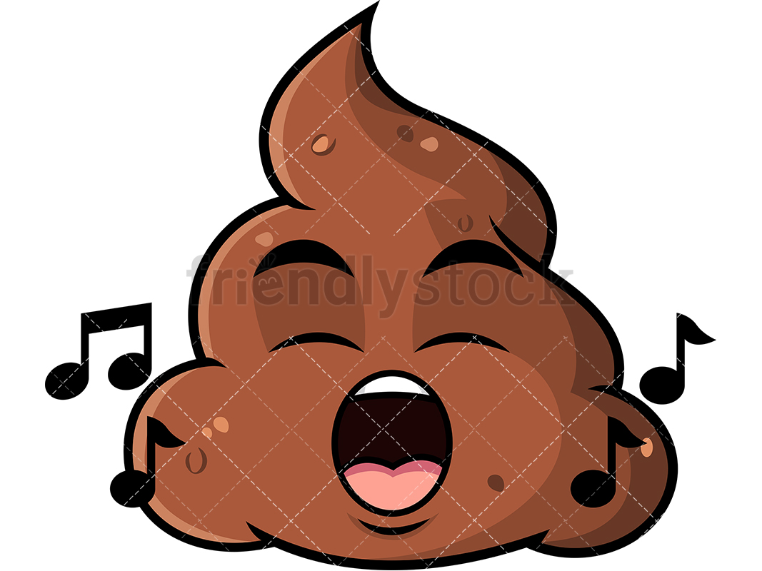 1067x800 Singing Poop Emoji Cartoon Vector Clipart