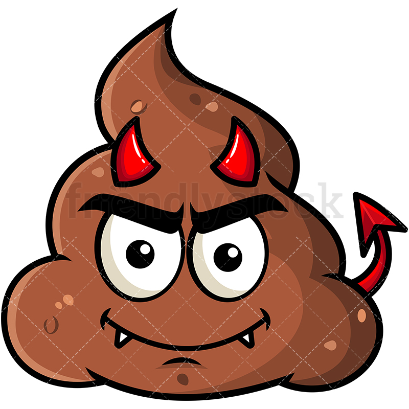 800x800 Crafty Devil Poop Emoji Cartoon Vector Clipart