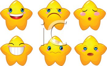 350x216 Set Of Star Shaped Emoticons Showing Emotions