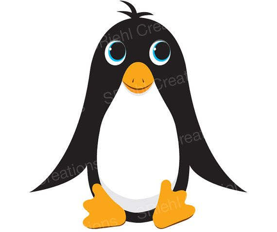 570x477 Cute Penguin Clipart Commercial Use Ocean Animals Sea Life Art
