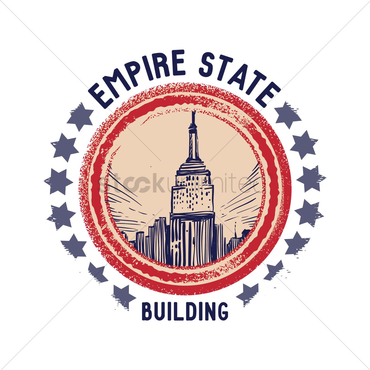 1300x1300 Grunge Rubber Stamp Of Empire State Building Vector Image