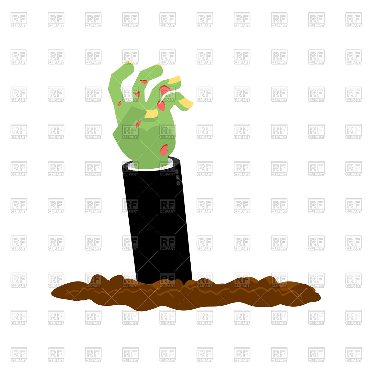 1200x1200 Zombie Hand Climbs Out From Ground. Halloween. Royalty Free Vector