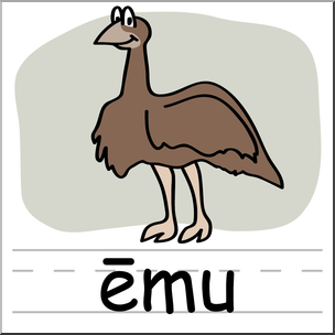 304x304 Clip Art Basic Words Emu Color Labeled I Abcteach