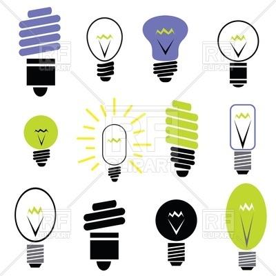 400x400 Energy Saving And Filament Light Bulbs Icons Royalty Free Vector