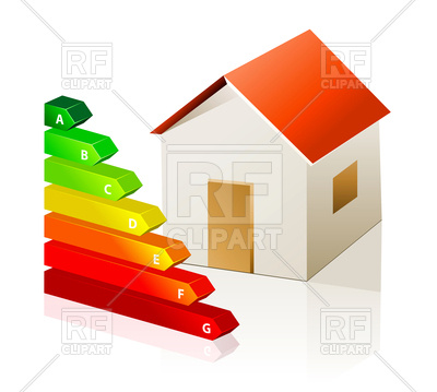 400x359 House And Energy Classification Graph Icon Royalty Free Vector