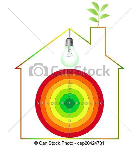 450x470 Buildings Energy Performance Scale. Energy Efficiency Vectors