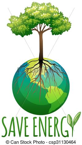 266x470 Save Energy Theme With Earth And Tree Illustration Clip Art Vector