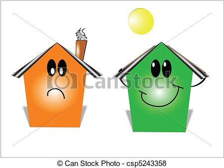 450x338 Money Savings Energy House. Cartoon Style Illustration
