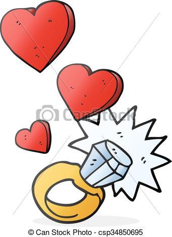 341x470 Freehand Drawn Cartoon Diamond Engagement Ring Eps Vectors