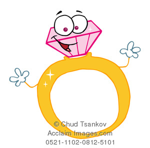 300x296 Clipart Illustration Of A Smily Pink Engagement Ring