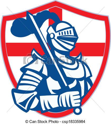 421x470 English Knight Hold Sword England Shield Flag Retro . Vector