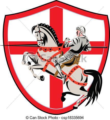 431x470 English Knight Rider Horse England Flag Retro. Illustration Eps