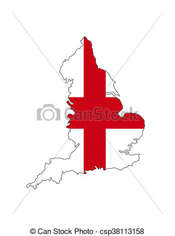 349x470 England Map Shape. England Uk Country Flag Map Shape Stock