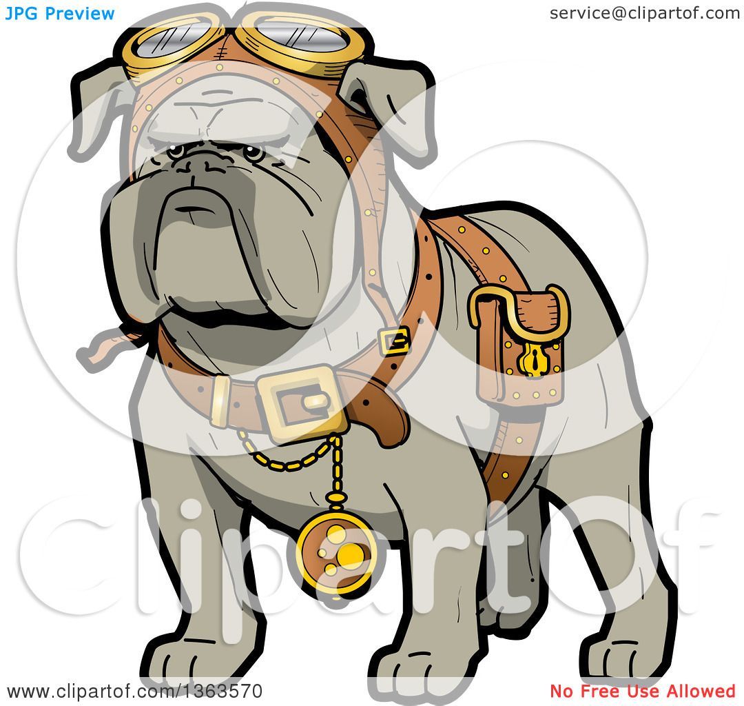 1080x1024 Clipart Of A Cartoon Steampunk Bulldog Explorer Wearing A Pouch
