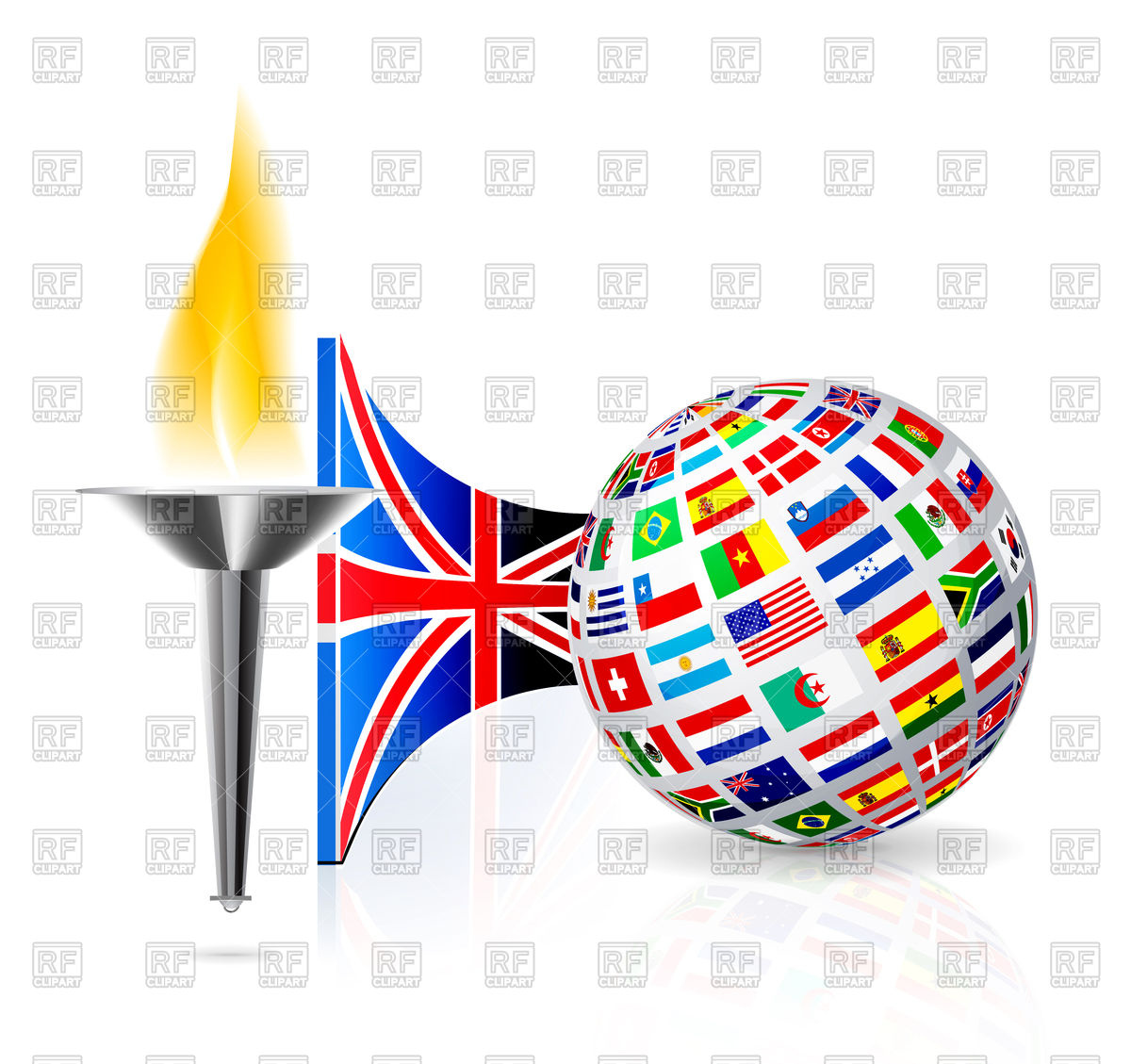 1200x1129 Torch With Flame, English Flag And Globe Royalty Free Vector Clip