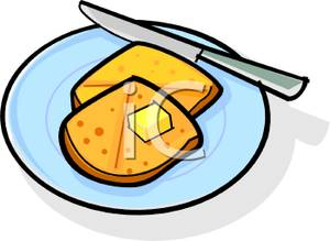300x219 A Cube Of Butter On A Toasted English Muffin Clip Art Image