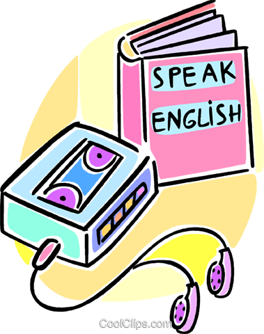 379x480 Learning To Speak English Using Tapes Royalty Free Vector Clip Art