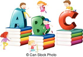 282x194 Children And English Alphabets Illustration Vector Clip Art