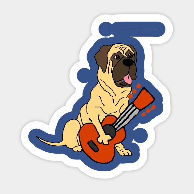 630x630 Funny English Mastiff Dog Playing Guitar Art