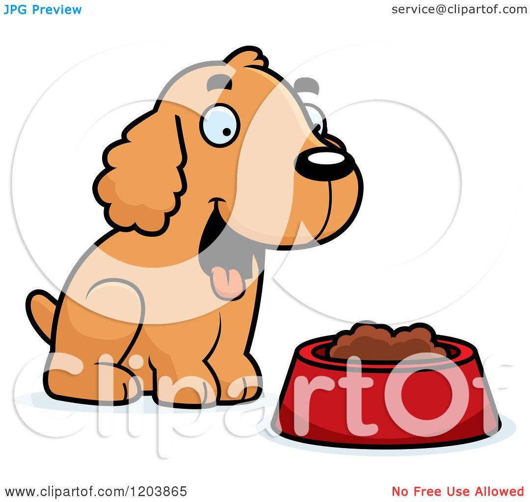 1080x1024 Cartoon Of A Cute Spaniel Puppy By A Bowl Of Dog Food