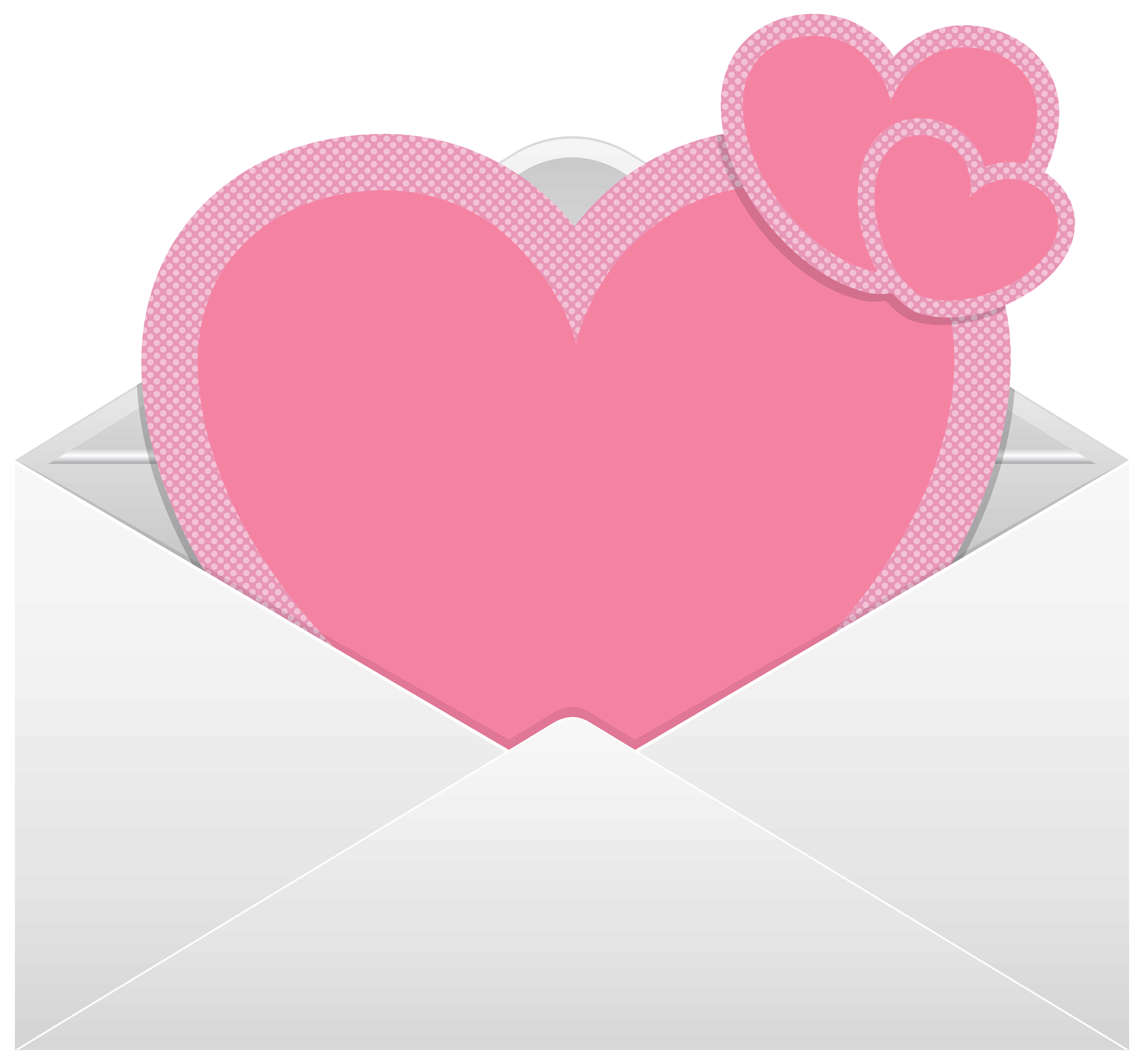 8000x7440 Envelope With Pink Hearts Transparent Png Clip Art Image