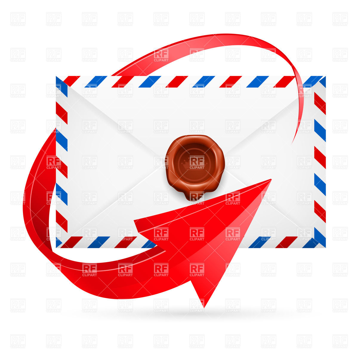 1200x1200 Avia Mail Envelope With Wax Seal Twined By Arrow Around Royalty