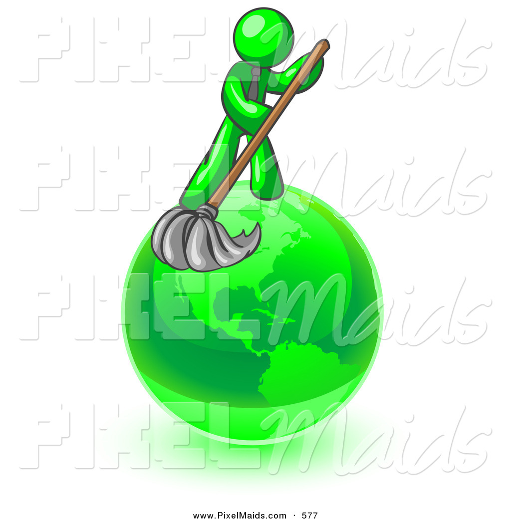 1024x1044 Clipart Of A Lime Green Man Using A Wet Mop With Green Cleaning