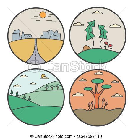 450x470 Landscape Round Design Concept. Flat Line Nature View Vector