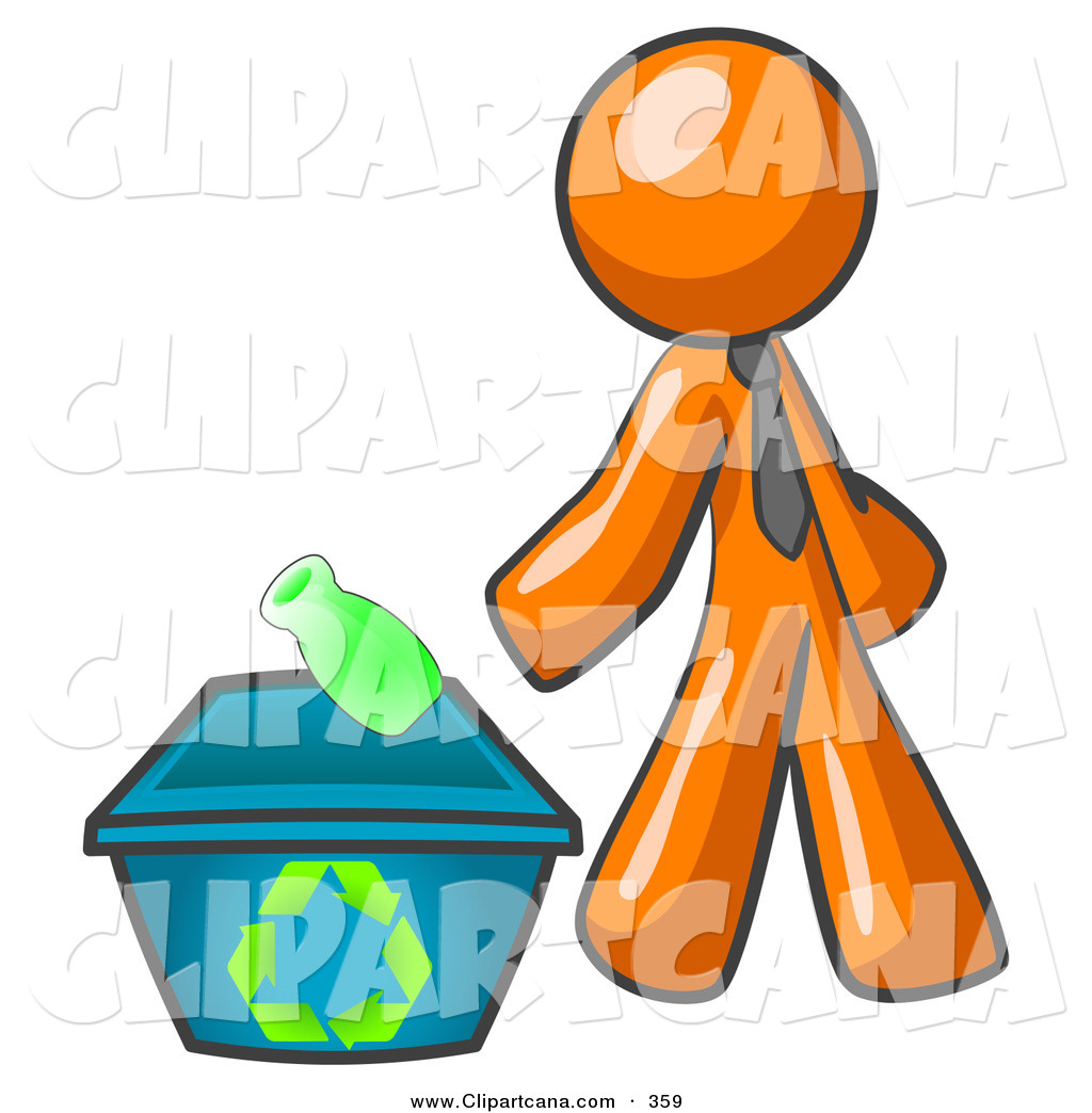 1024x1044 Vector Clip Art Of A Shiny Orange Man Tossing A Plastic Container