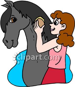 305x350 Girl Grooming Her Horse